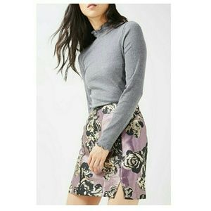 TOPSHOP Floral Jacquard Miniskirt